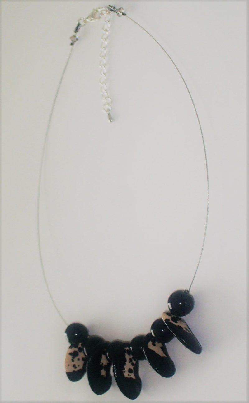Collier Dalmata, Agate noire et Swarovski