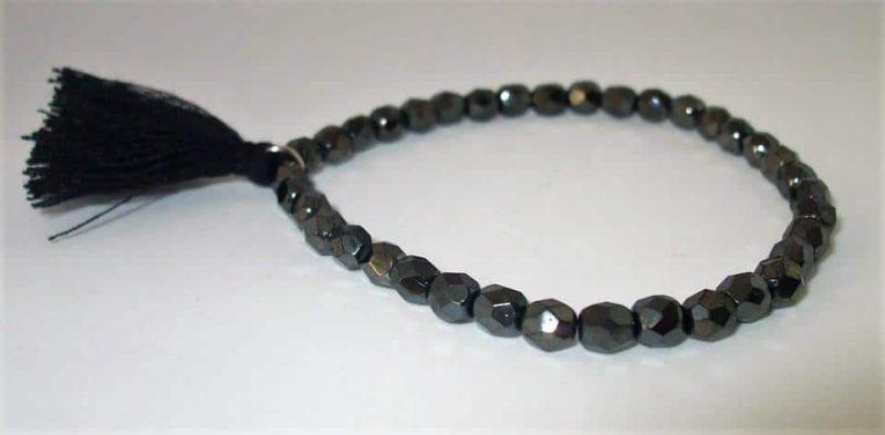 Bracelet verre de bohème eet pompon en coton