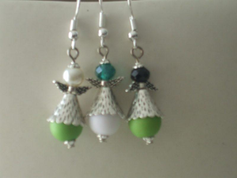 Boucles d'oreilles anges perles vertes