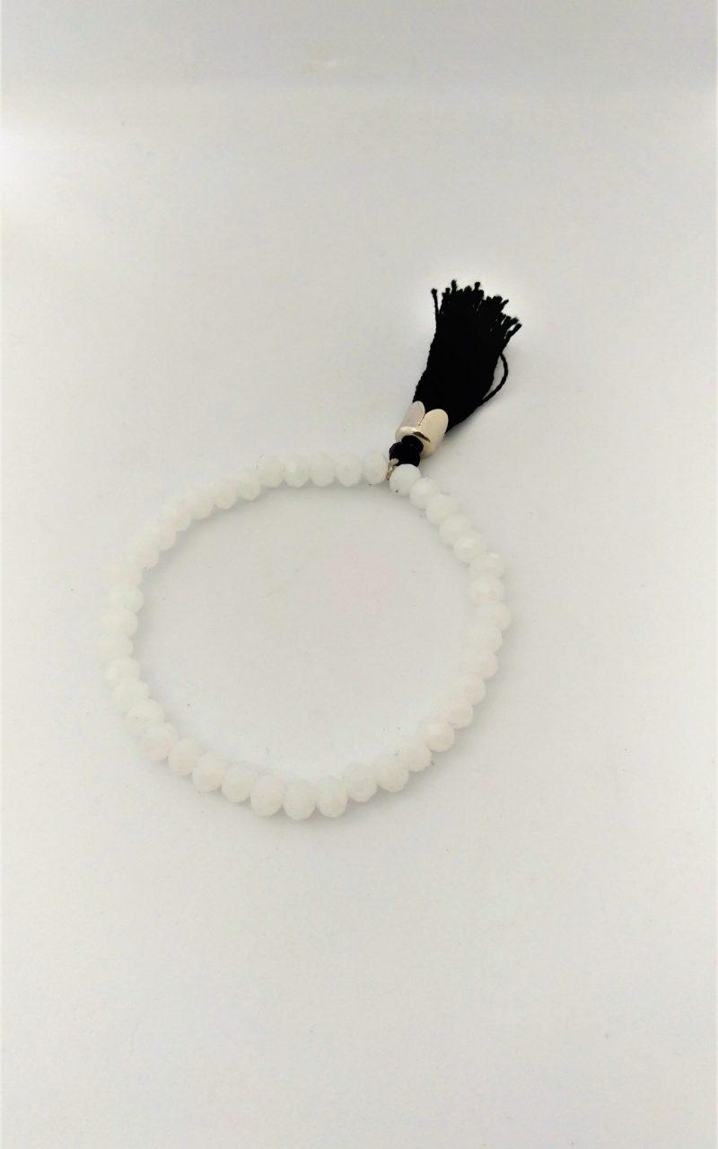 Bracelet perles facettées blanches