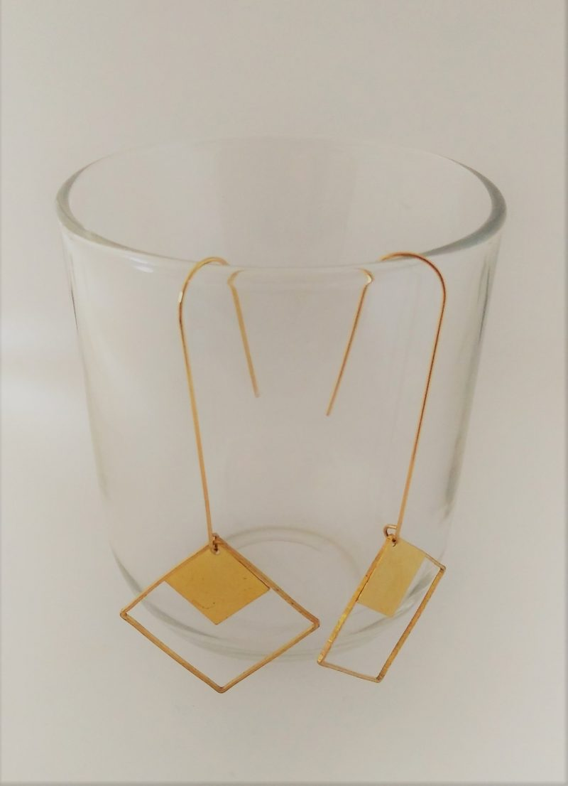 Boucles d'oreilles tout laiton rectangle