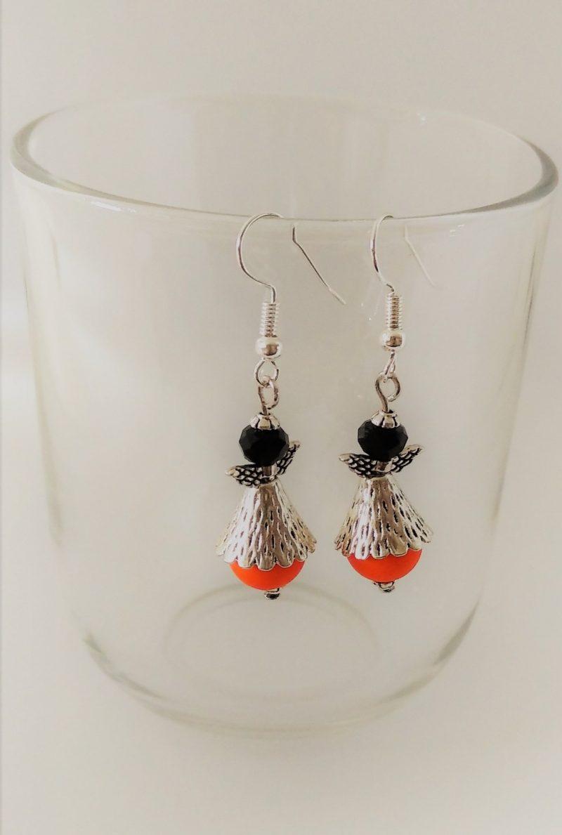 Boucles d'oreilles anges perles oranges