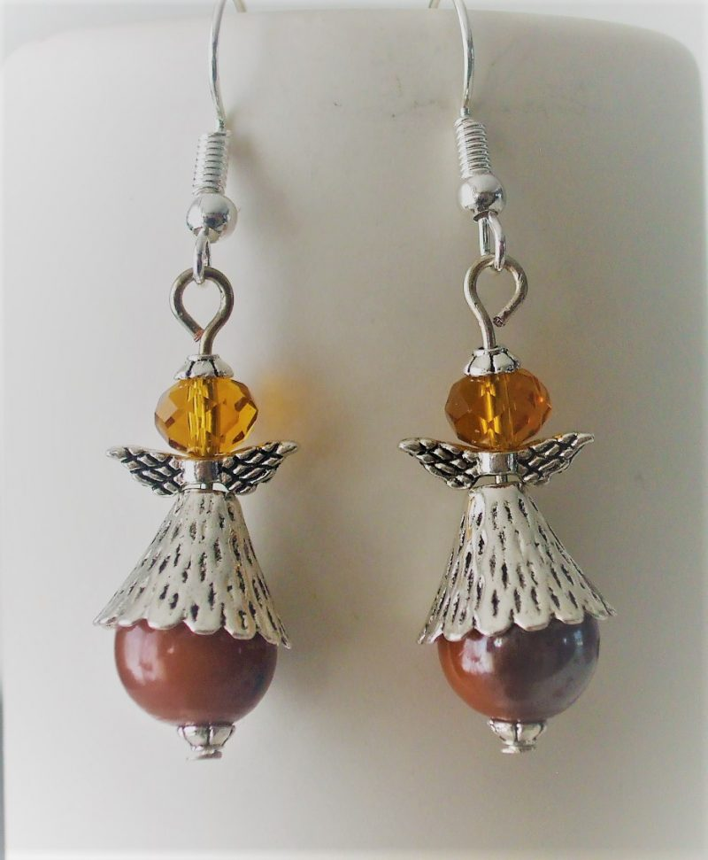Boucles d'oreilles anges marron