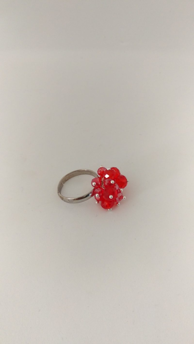 bague ajustable perles rouges