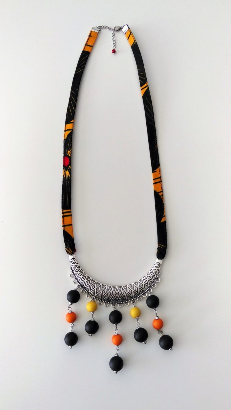 Collier Wax noire -orange et jaune