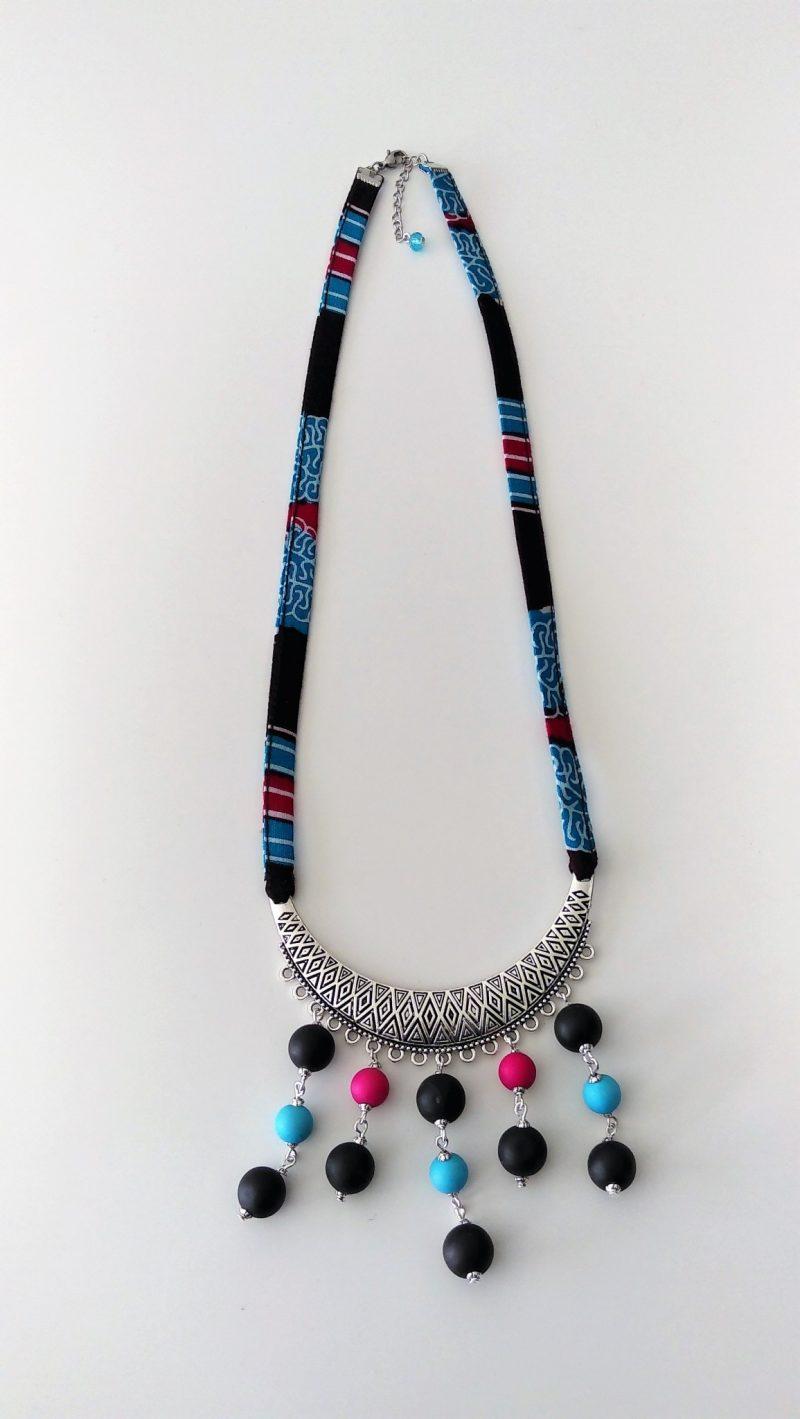 Collier Wax bleu-rose-noire