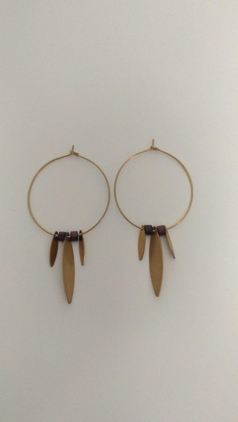 Boucles d'oreilles créoles tout en laitonet bois