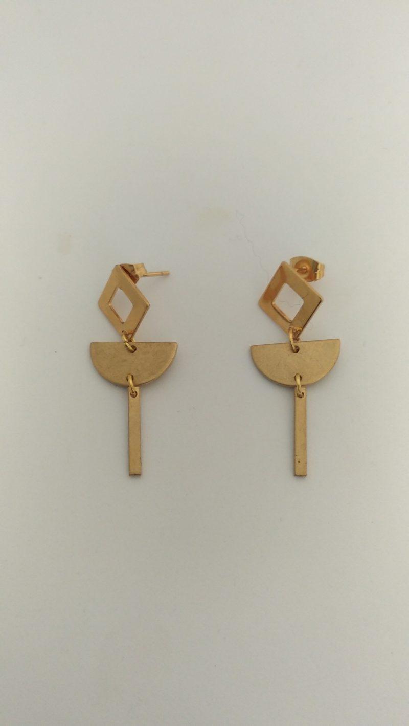 Boucles d'oreilles géom laiton - acier